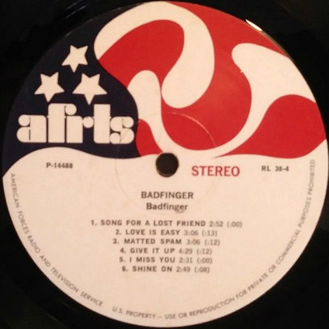 Badfinger Slade split sided LP AFRTS