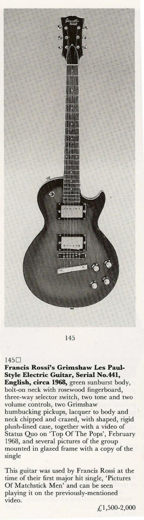 Francis Rossi's Grimshaw Guitar Serial #441
