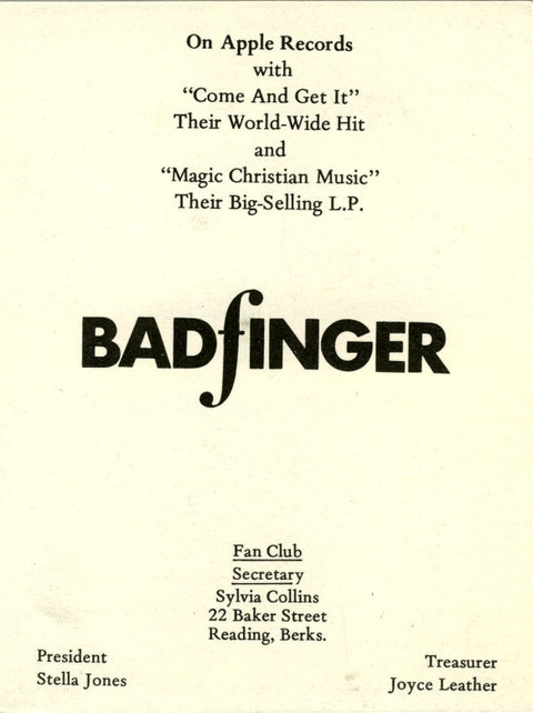 A UK Badfinger Fan Club Apple Records promotional card 1970 back