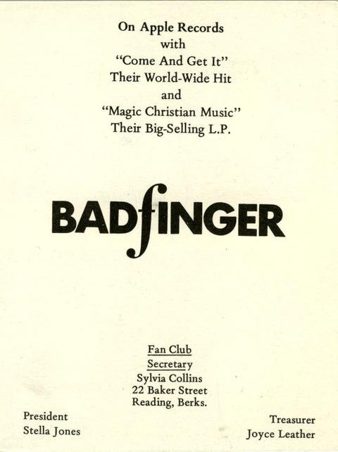 A UK Badfinger Fan Club Apple Records promotional card 1970 back