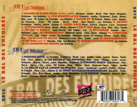 Les Enfoirés 2012 CD back