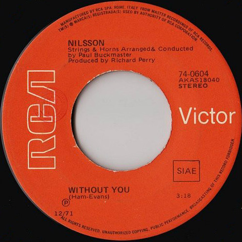 ‎Nilsson - Without You r