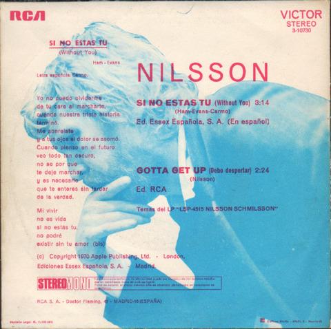 Nilsson - Si no estas tu (1971) back
