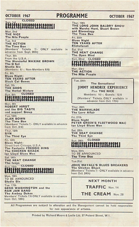 Marquee Club Programme Oct 1967 closed