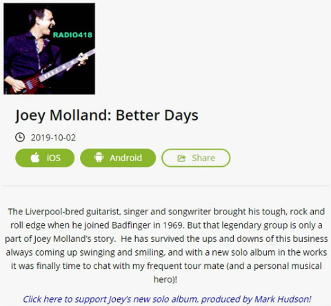 Radio 418 Joey Molland