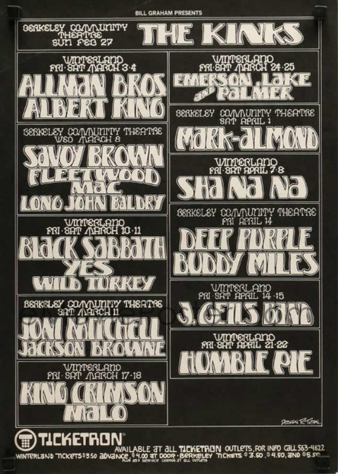 Kinks Berkeley Feb 27, 1972 poster