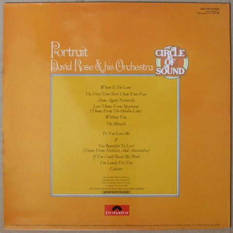 David Rose & His Orchestra - Portrait (1972) back