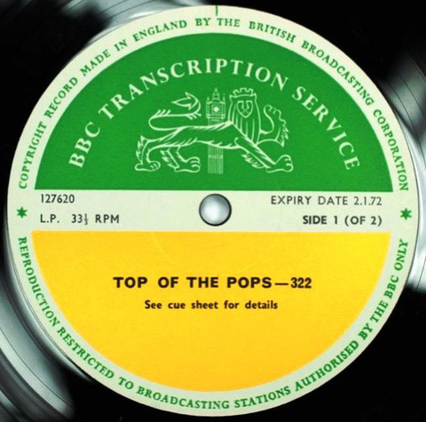 BBC 322 Transcription Disc TOP of the POPS Live Badfinger 01