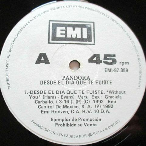 Pandora - Desde el día que te fuiste 12'' r1