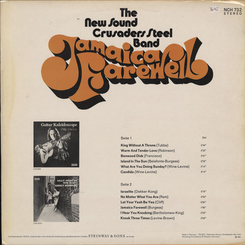 The New Sound Crusaders Steel Band - Jamaica Farewell back