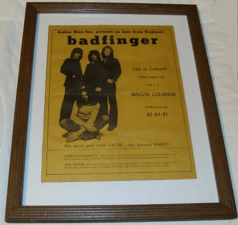 Badfinger Macon Coliseum Concert Poster (Aug 4 ,1972)