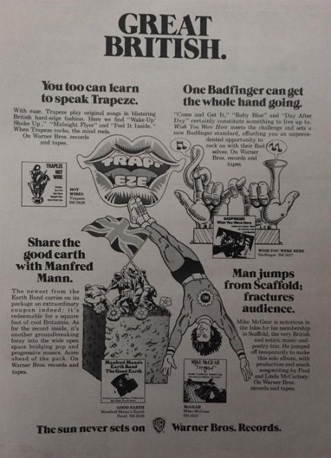 1974 Warner Brothers records album ad pinup poster B