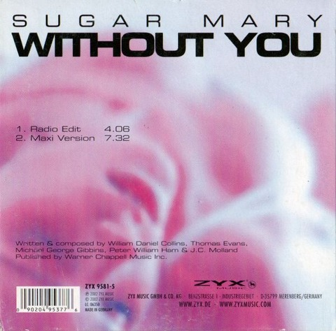 Sugar Mary - Without You 9581-5 back