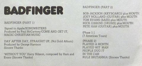 1974 Man+Badfinger Concert Programme 2b