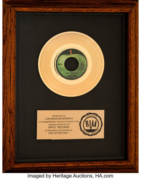Badfinger Day After Day RIAA Gold Record Auction 7241 Lot 90272