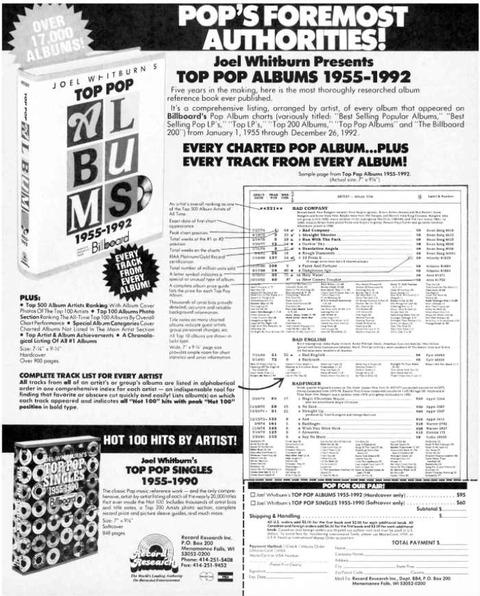 Joel Whitburn - Top Pop Albums 1955-1992 ad June 1993