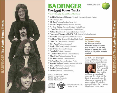 Badfinger The Apple Bonus Tracks back