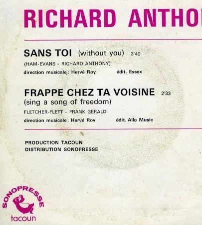Richard Anthony - Sans toi (1972) back