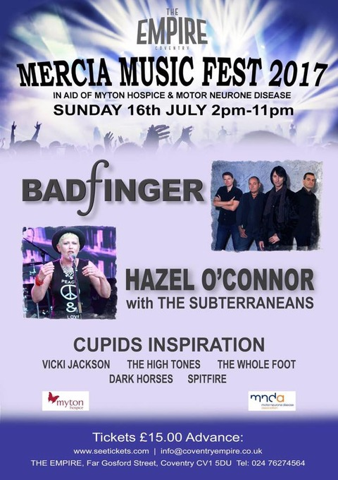 Badfinger Hazel O'Connor Mercia Music Fest July 16, 2017