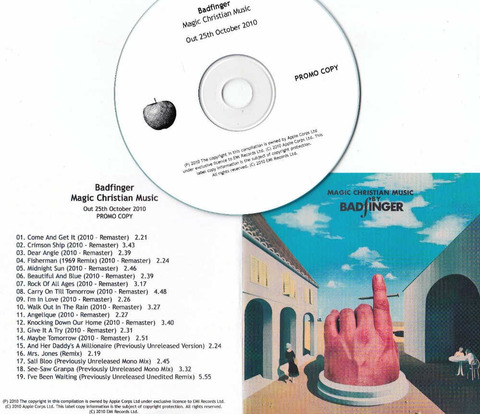 BADFINGER Magic Christian Music 2010 UK promo test CD