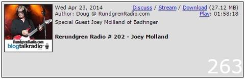 Apr 23, 2014 Rerundgren Radio #202 - Joey Molland