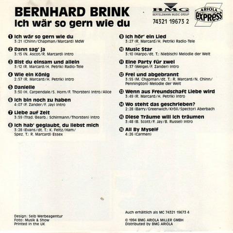 Bernhard Brink Ich Wär So Gern Wie Du CD b