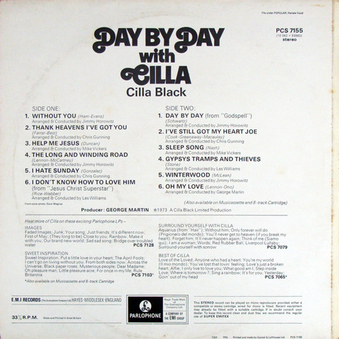 Cilla Black - Day By Day with Cilla (1973) back