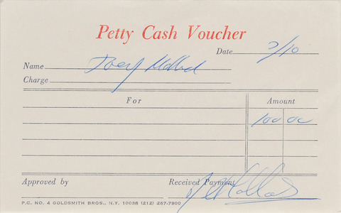 Autographs Signed Four Petty Cash Vouchers Joey