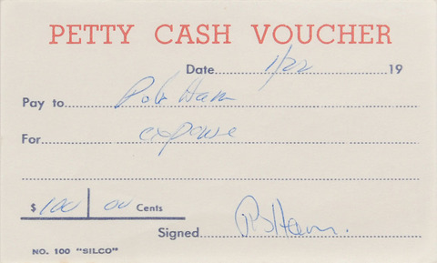 Autographs Signed Four Petty Cash Vouchers Pete
