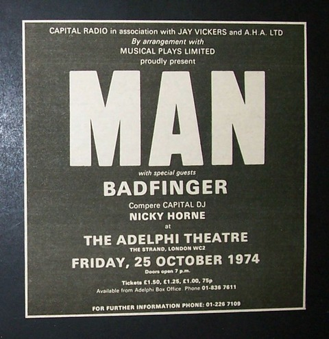 Man + Badfinger Concert Poster Type Ad