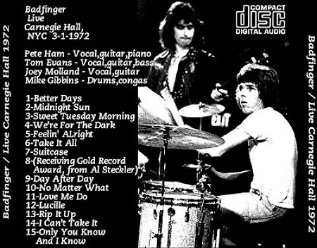 Badfinger Live Carnegie Hall NYC 3-1-1972 back