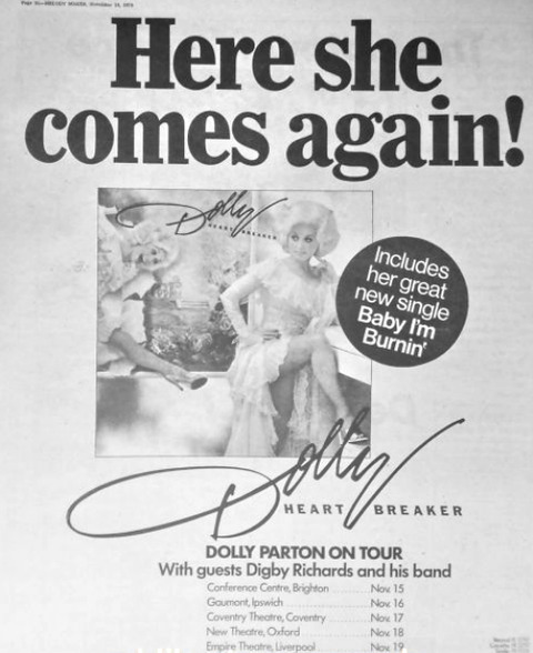 Digby Richards Dolly Parton 1978 tour