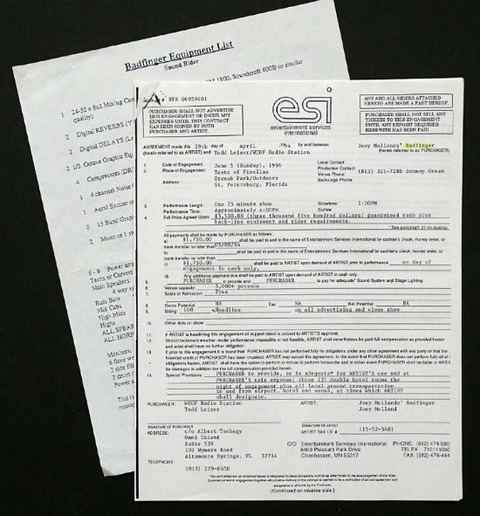 1994 Badfinger Florida Concert Contract