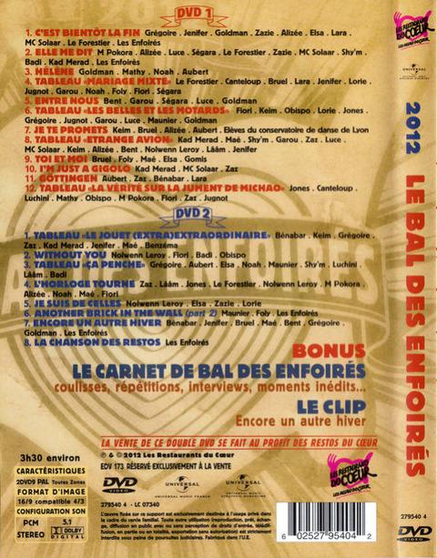 Les Enfoirés 2012 DVD back