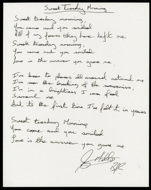 Joey Molland Sweet Tuesday Morning Hand Written Lyrics a