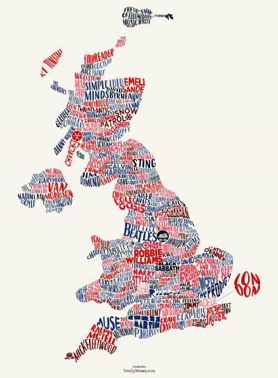 TotallyMoney The Big British Music Map by Kaizen