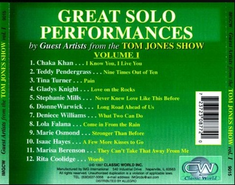 Gladys Knight - Various Guest Artists Tom Jones Show Vol 1 b