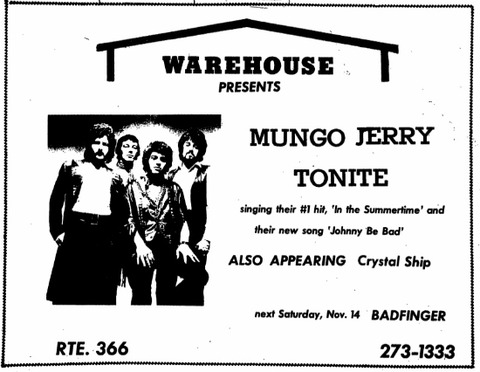Warehouse Nov 14, 1970 ad The Ithacan 19701106