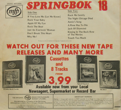 Springbok Hit Parade 18 (1974) back