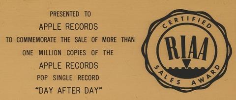 RIAA Presented to Apple Records