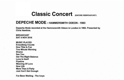 Depeche Mode ‎- Hammersmith Odeon - 1983