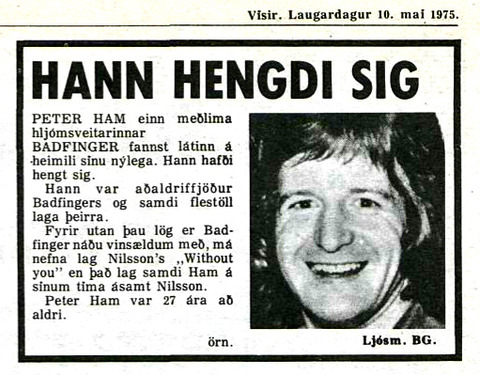 Vísir May 10, 1975 Pete Ham