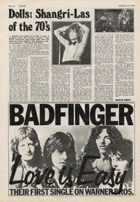 Sounds Feb 24 1973 Badfinger Love Is Easy ad