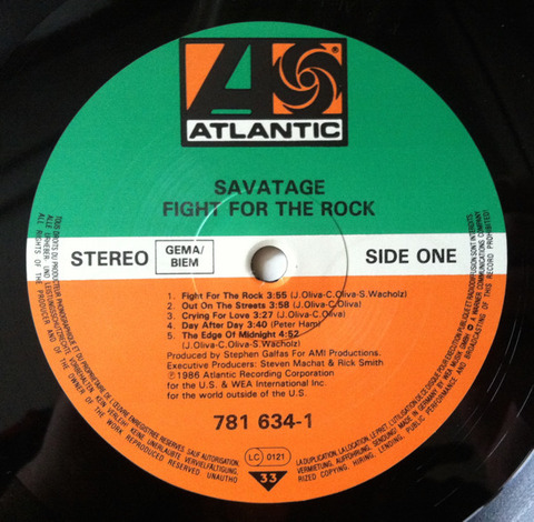Savatage - Fight for the Rock 1986 LP r1