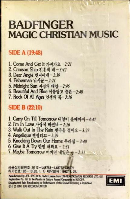 Badfinger - Magic Christian Music 1992 Korea cassette b