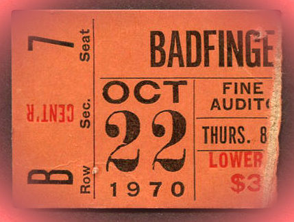 Badfinger concert ticket stub Oct 22 1970 Fort Worth TX