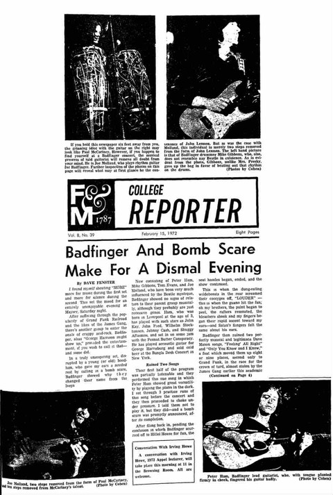 Franklin & Marshall College Reporter Feb 15, 1972 a