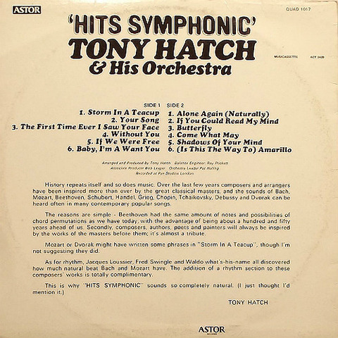 Tony Hatch - Astor back