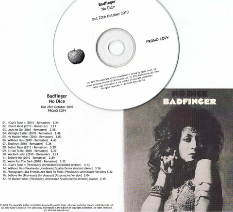 BADFINGER No Dice 2010 UK promo test CD