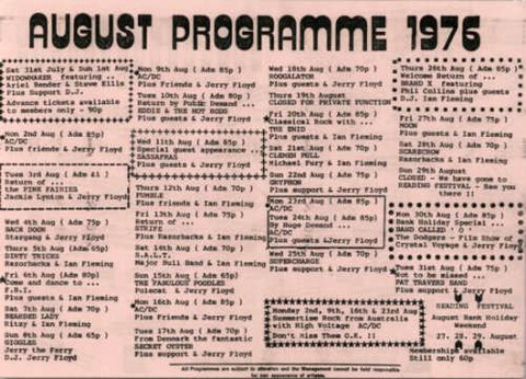 Marquee Club Programme August 1976